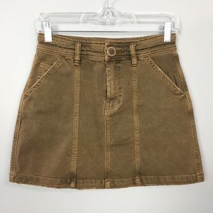 We the Free Antique Brass Distressed Mini Skirt